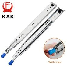 KAK Drawer Runners with Lock 10 to 50 inch Ball Bearing Three Fold Full Extension Heavy Duty Slide Rail Drawer Slides Hardware