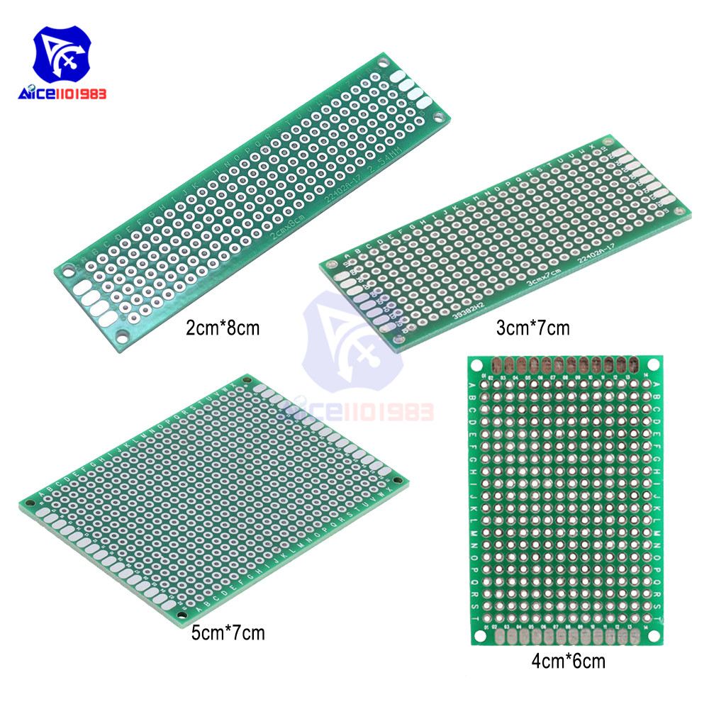 Diymore 4PCS/Set 4 Type FR4 Double Side Prototype PCB Tinned Bread Board 5x7cm 4x6cm 3x7cm 2x8cm Double Sided PCB