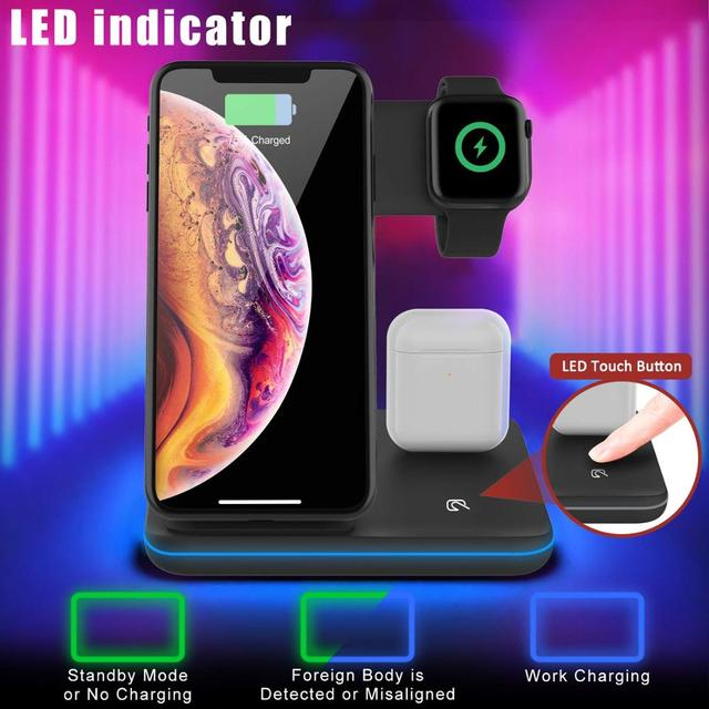 Wireless Charger Stand 3 in 1 Qi 15W Fast Charging Dock Station for Apple Watch iWatch 6 5 4 AirPods Pro iPhone 12 11 XS XR X 8 3