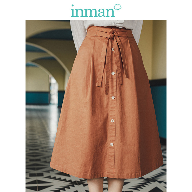 INMAN Spring Autumn Retro Young Girl Literary 100%Cotton Solid Lacing A line Women Medium Skirt