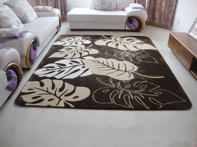 Nouvelle arrivée salon thé table 200*240cm tapis modernes, grands tapis de feuilles pour salon brun avec tapis