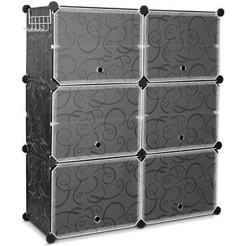 Square Shoe Rack DIY Square Storage Organizer Multi Purpose Modular Closet Plastic Cabinet with Door and
