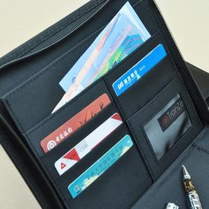 Image 3 - Iş a5 deri evrak çantası kısa durumda portföy tuval A5 dosya klasörü fermuarlı dolum dergisi planlayıcısı dizüstü hediye 783