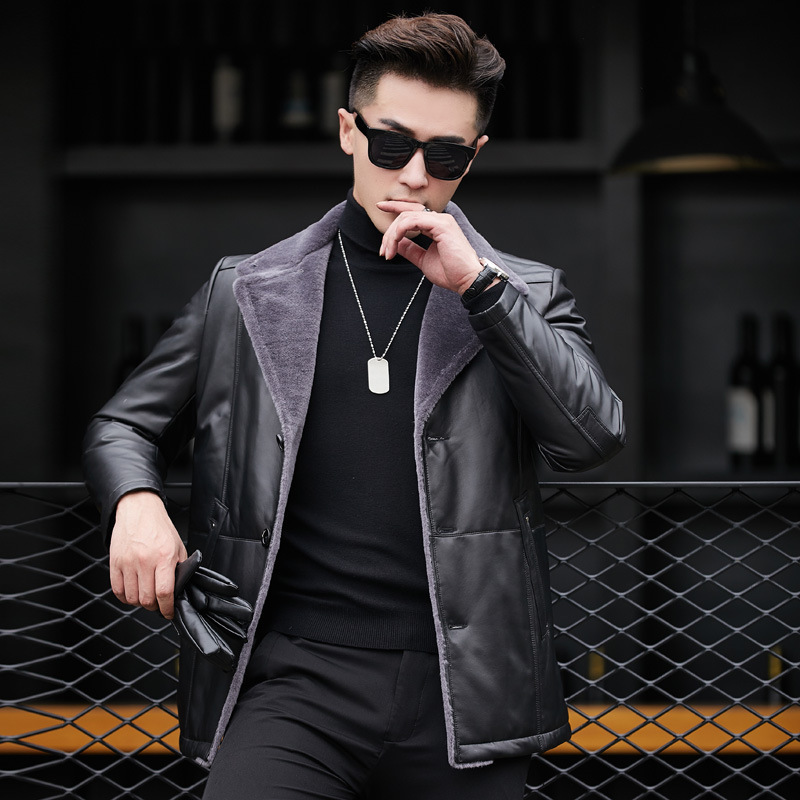 2020 Genuine Leather Jacket Men Autumn Winter 100% Sheepskin Coat For Men Warm Down Jackets 81X17312 YY261