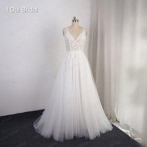 Image 2 - Свадебные платья в стиле бохо, ТРАПЕЦИЕВИДНОЕ пляжное платье невесты из тюля с изображением слоев, Прямая поставка