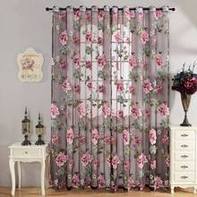 Peony Flower Window Screening Curtain Drape Floral Glass Voile Tulle for Bathroom Shower Room Divider Home Decor