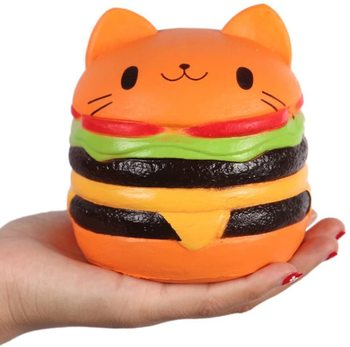 Cute Cat Head Hamburger Squishy Simulated Bread PU Scented Soft Slow Rising Squeeze Toy Collection Gift cute hamburger land line telephone