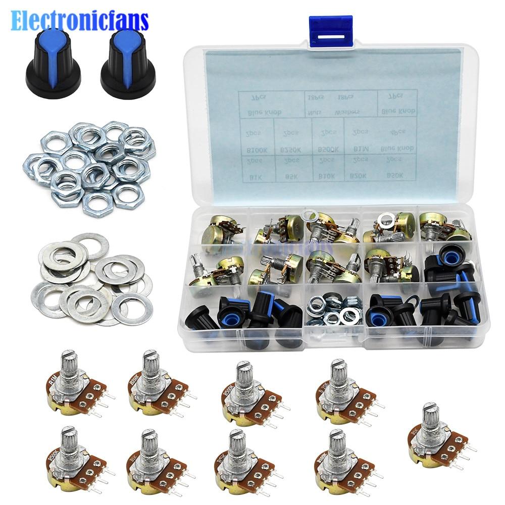 18 pièces/lot 9 valeurs WH148 potentiomètre B1K 2K 5K 10K 20K 50K 100K 250k 500K 1M ohm potentiomètre rotatif linéaire avec boutons