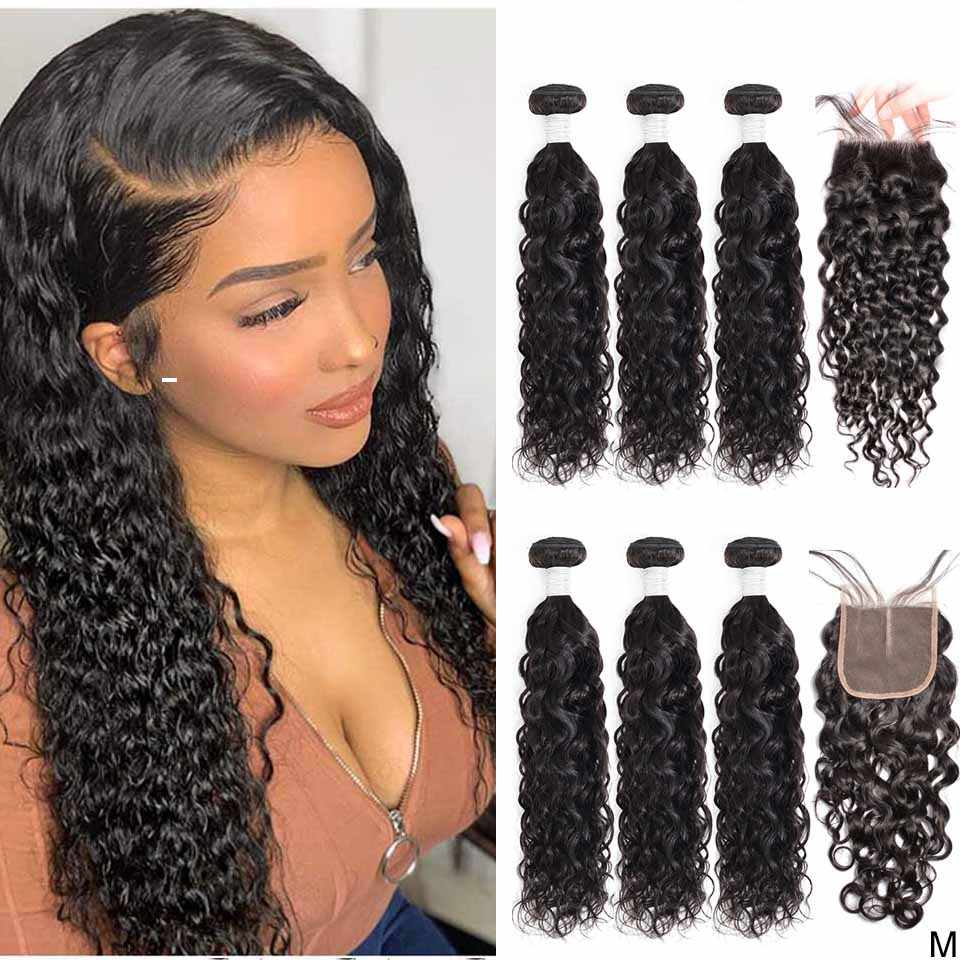 Water Wave Bundles with Closure Wet and Wavy Bundles with Closure Brazilian Hair Weave 3 Bundles with Closure Maxine Non-Remy