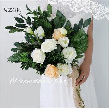Wedding Flower Bouquet Bridal Flowers Artificial Fresh Pink White Rose Bride Bouquet Green Leaf SPH028