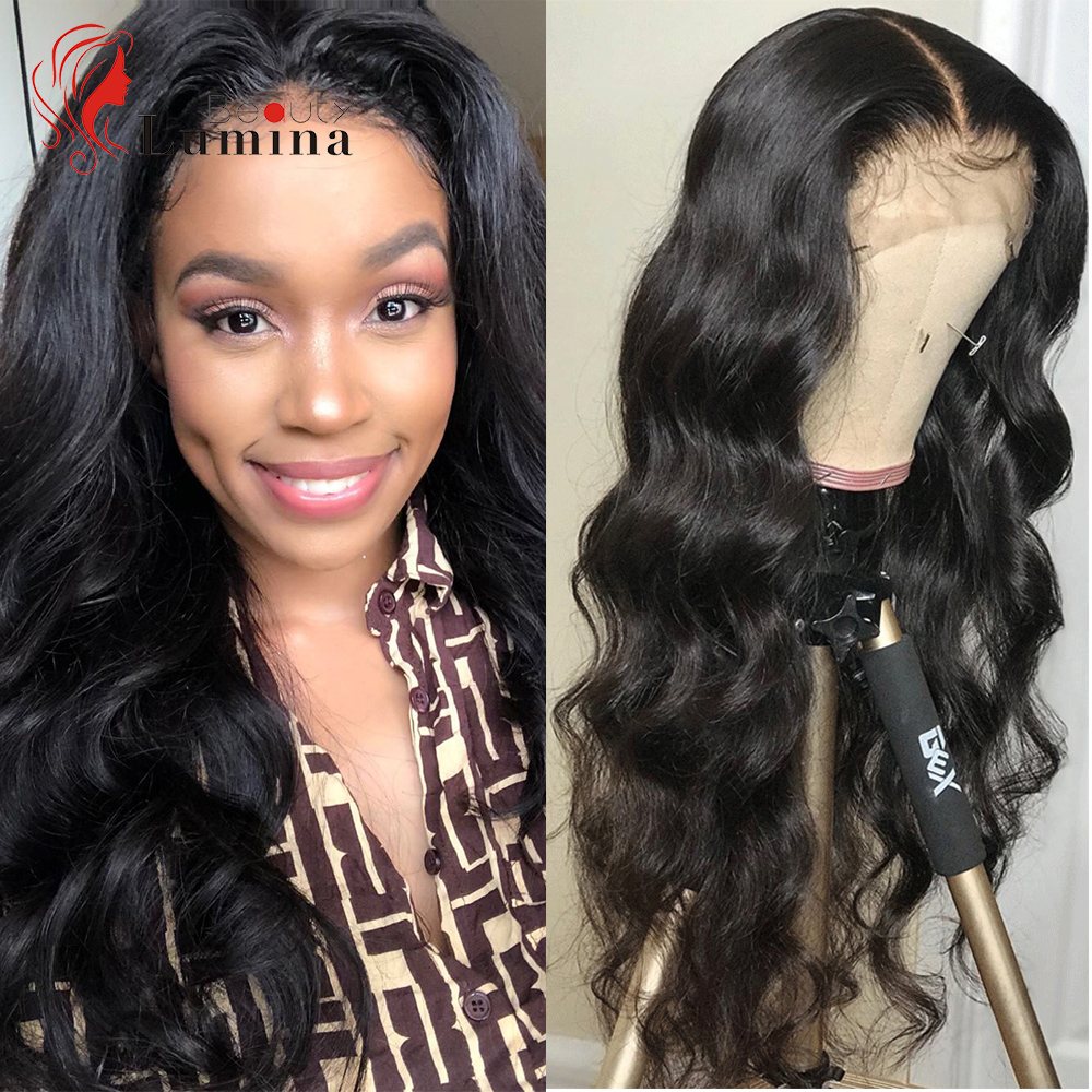 Lace Front Human Hair Wigs 13X4 Body Wave Lace Frontal Wigs Brazilian Hair Wig 180% Density Preplucked Baby Hair Beauty Lumina