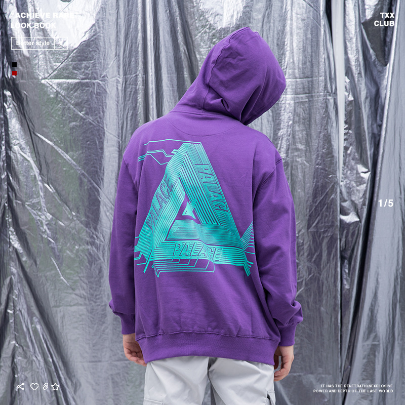 Palace Life 2018 Europe And America Popular Brand Autumn And Winter Men'S Wear Circuit Board Triangular Printed MEN'S Hoodie