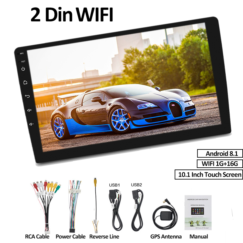 "1+16G 10.1"" 2 Din 4G Universal Car Radio Andriod 8.1 Bluetooth WIFI GPS Quad Core Interchangeable DVD Player Navigation image"