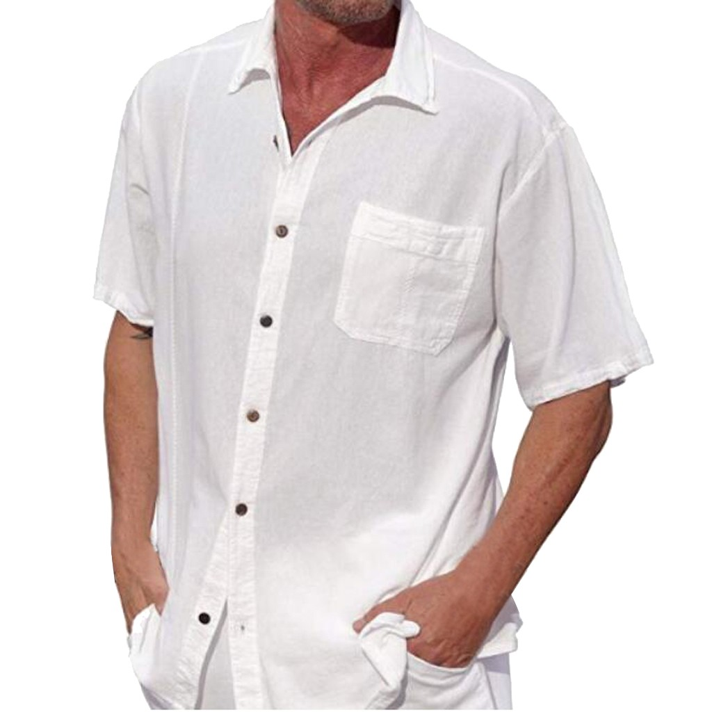 WOMAIL 2019 Summer Linen Shirt Casual Men's Short Sleeve Shirts For Men Pure Color Buttons Shirt Loose Casual Size High Quality