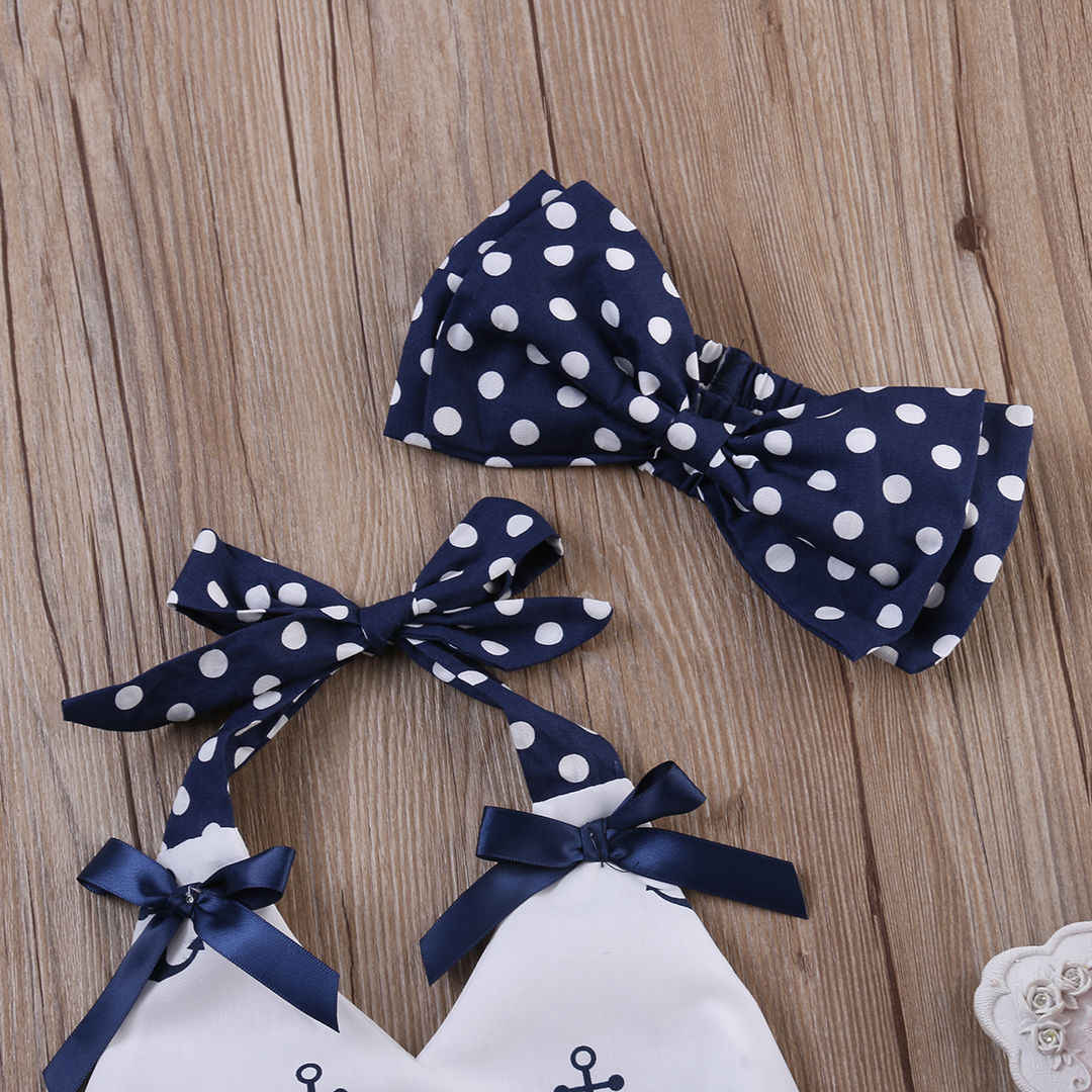 3 stück Neugeborenen Baby Mädchen Kleidung Set Druck Anker Tops + Polka Dot Shorts + Stirnband Outfit Sets Babys kleidung