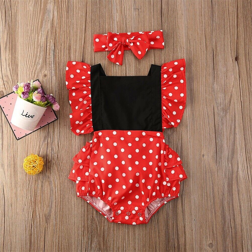 Pudcoco Newborn Baby Girl Clothes Polka Dot Sleeveless Ruffle Romper Jumpsuit Headband 2Pcs Outfits Sunsuit Clothes