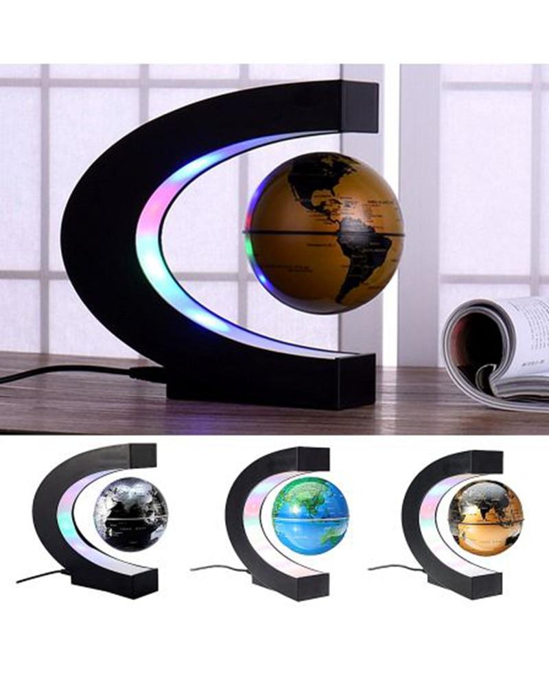 C Shape Magnetic Levitation Montessori Geography Globe Floating World Map Tellurion LED Light Terrestre Children Learning Toys