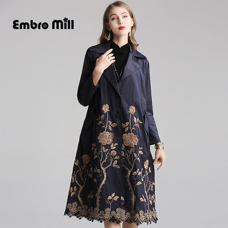 Autumn And Winter Cotton And Linen Coat Streetwear Style High End Hollow Embroidery Long Sleeve Slim Woman Coat M-3XL