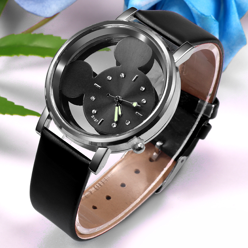 Reloj Mujer Fashion Mickey Mouse Cartoon Women Watch Casual Transparent Hollow Dial Leather Quartz Wristwatches Relogio Feminino