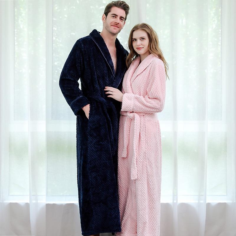 Autumn Women Bathrobe Warm Flannel Kimono Nightgown Coral Fleece Night Dress Casual Sleepwear Dressing Gown Plus Size Nightwear
