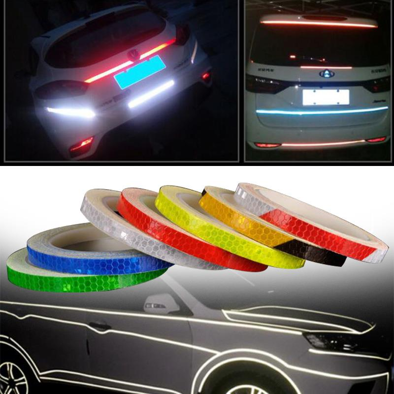 Cars Accessories Bicycle Reflector Motorcycle <font><b>Waterproof</b></font> Ornament Tape Decal Reflective Stripe Warning <font><b>Sticker</b></font> 8M <font><b>Bike</b></font> image
