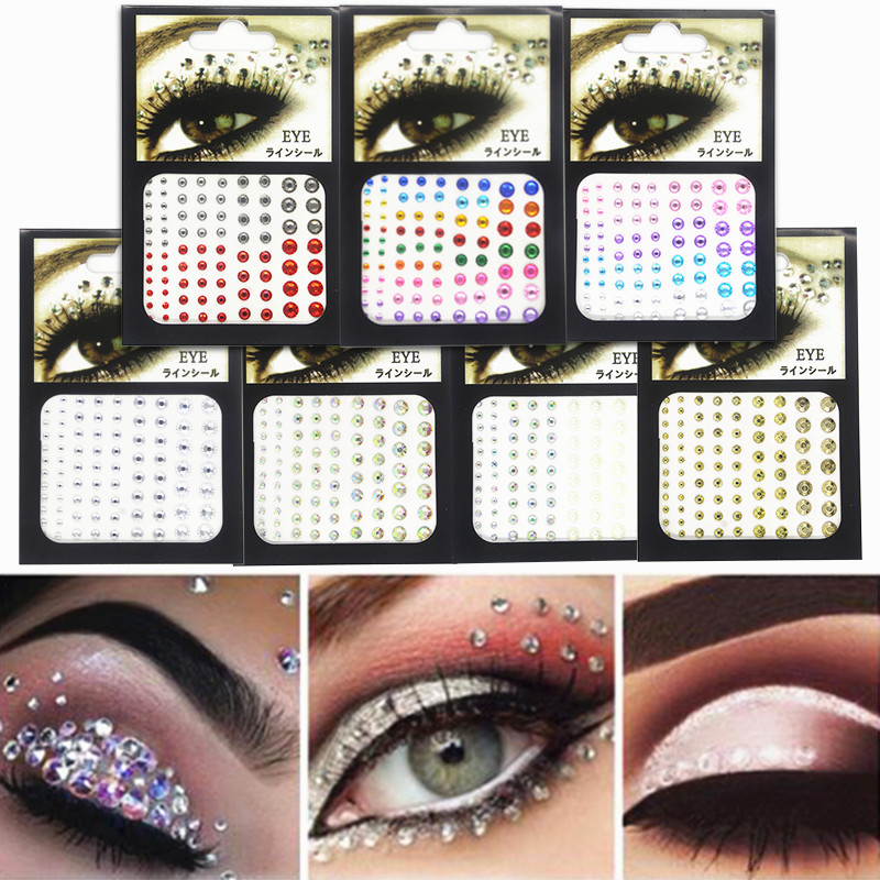 3D Sexy DIY Glitter Temporary Sexy Tattoo Diamond Makeup Eyeliner Eyeshadow Face Sticker Jewel Eyes Makeup Crystal Eyes Sticker