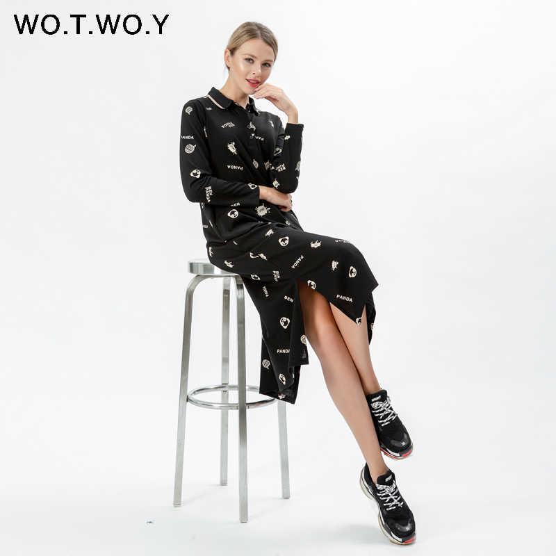 WOTWOY Новое Повседневное трикотажное платье для женщин 2019 карман пуговицы принт винта нить отложной воротник женские рубашки платья до середины икры Платье