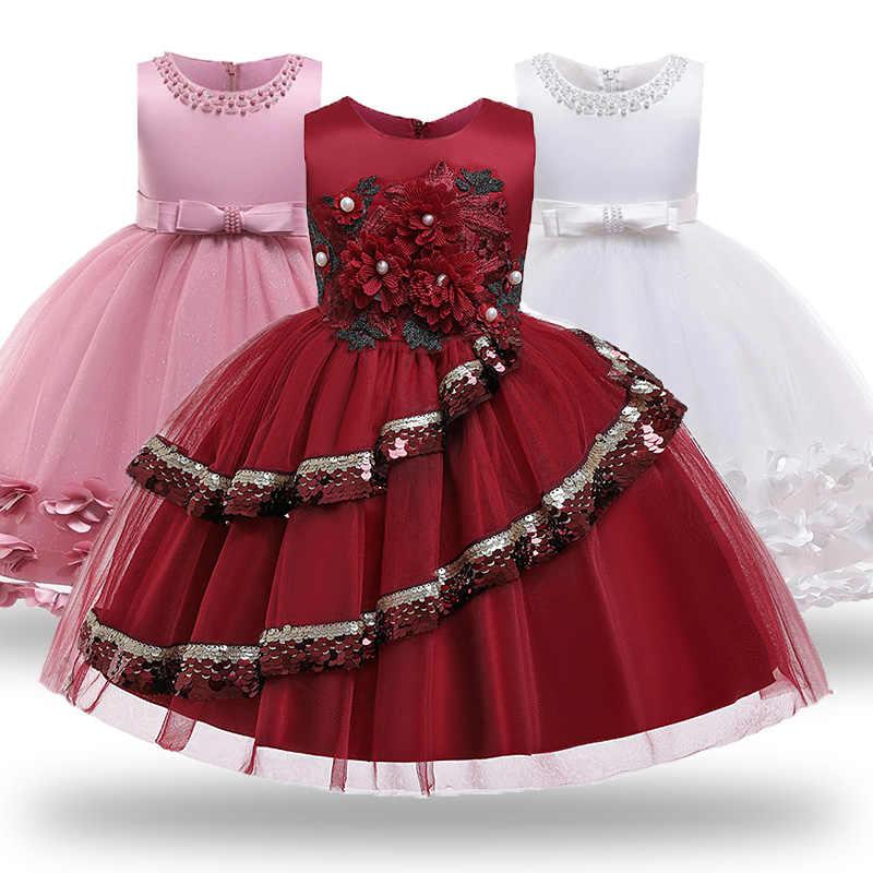 Toddler Christmas Dresses 2020 Baby Children Girl Dress 2020 Kids Ceremonies Party Dresses Flower