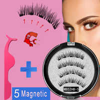 MB 5 magnets New Magnetic eyelashes with Mink eyelashes natural long False eye lashes applicator magnetic Lashes extension MB22P