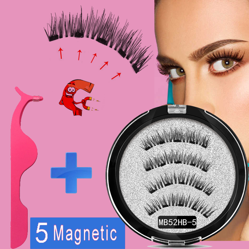 MB 5 Magnets Magnetic Eyelashes With Mink Eyelashe Natural Long False Eye Lashes Applicator Faux Cils Magnetique Extension MB22P