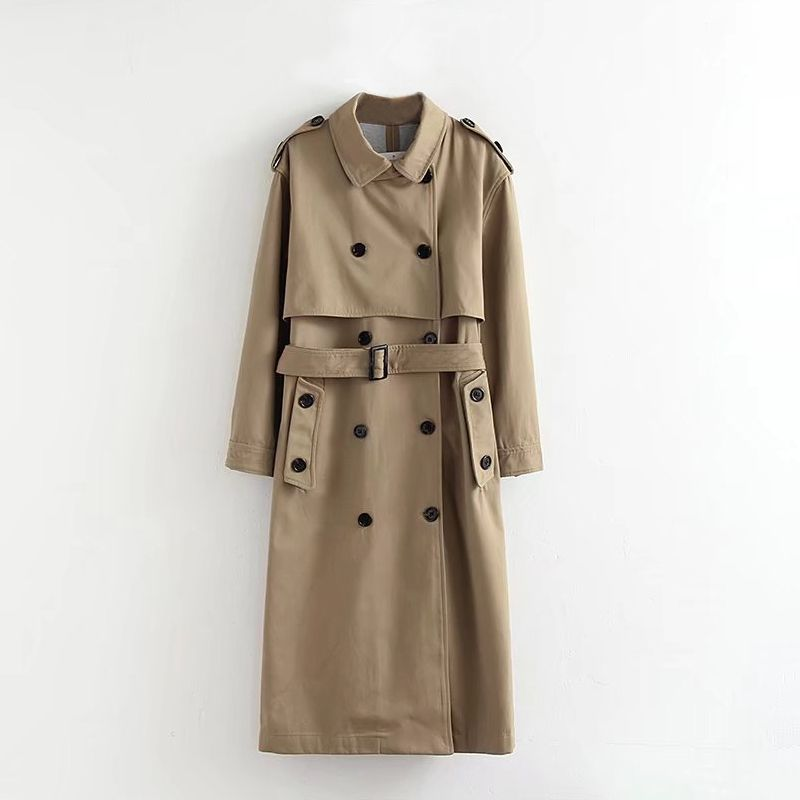 Trench   Coat Women 19 Autumn New Double-breasted Cloak Cascading Turn-down Collar Over The Knee Long Section   Trench   Khaki
