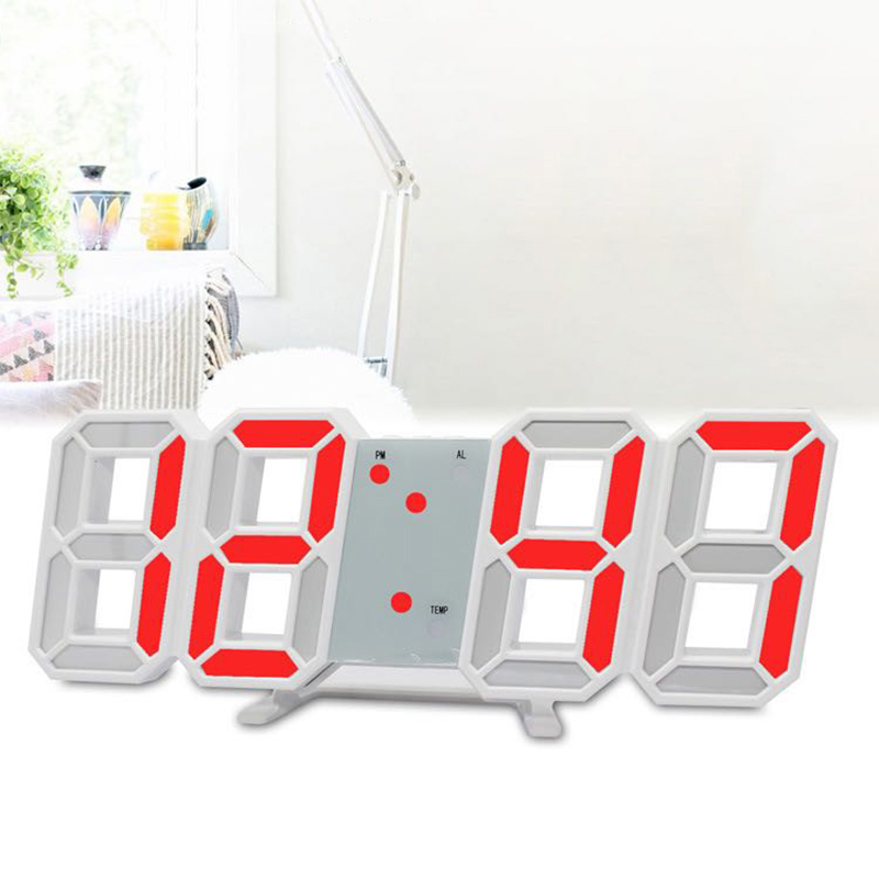 Multi-function Digital Electronic Clock 3D LED Wall Desk Brightness Adjustable Snooze Alarm Clock 12/24 Hour Temperature Date image