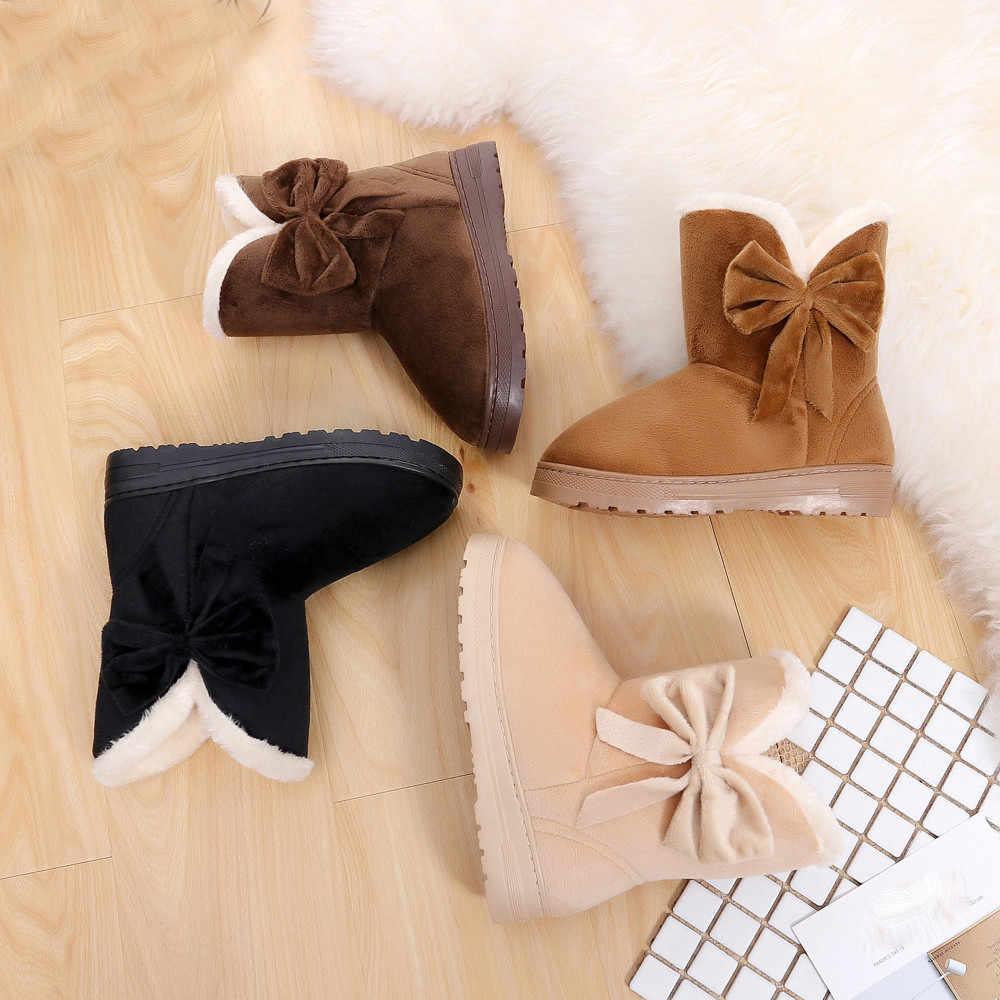 Çizmeler kadın kış Snowboots ilmek sıcak ayakkabı kadın Flats ayakkabı kar kadın botları sonbahar kış ayakkabı moda düz çizmeler