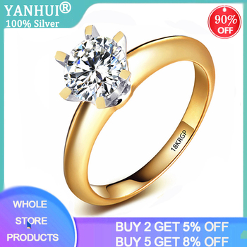 Top Quality Silver 925 Ring With 18KRGP Stamp Real Yellow 18K Gold Ring Solitaire 8mm 2.0ct Lab Diamond Wedding Rings For Women yanhui have 18k rgp logo pure solid yellow gold ring luxury round solitaire 8mm 2 0ct lab diamond wedding rings for women zsr169