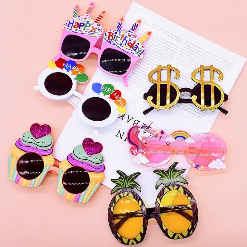 Creative Photo Prop Happy Birthday Glasses Cupcake Rainbow Currency Symbol Sunflower Shape Party Sunglasses Hawaiian Party Decor