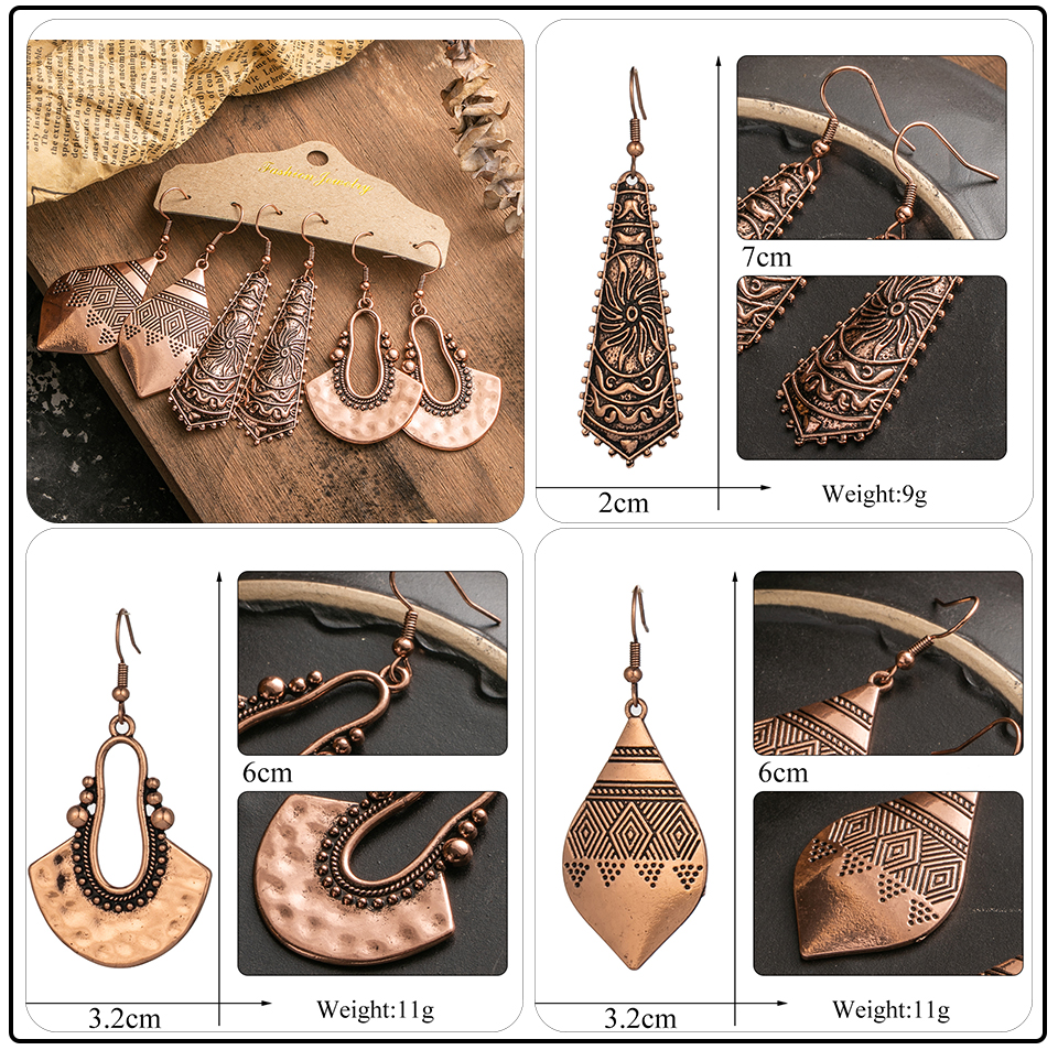 Ethnic Rose Gold Metal Tassel Fringe Womens Earrings Sets Jewelry Bohemia Vintage Round Circle Leaf Butterfly Geometric Drop Earrings Dropshipping Wholesale (8)