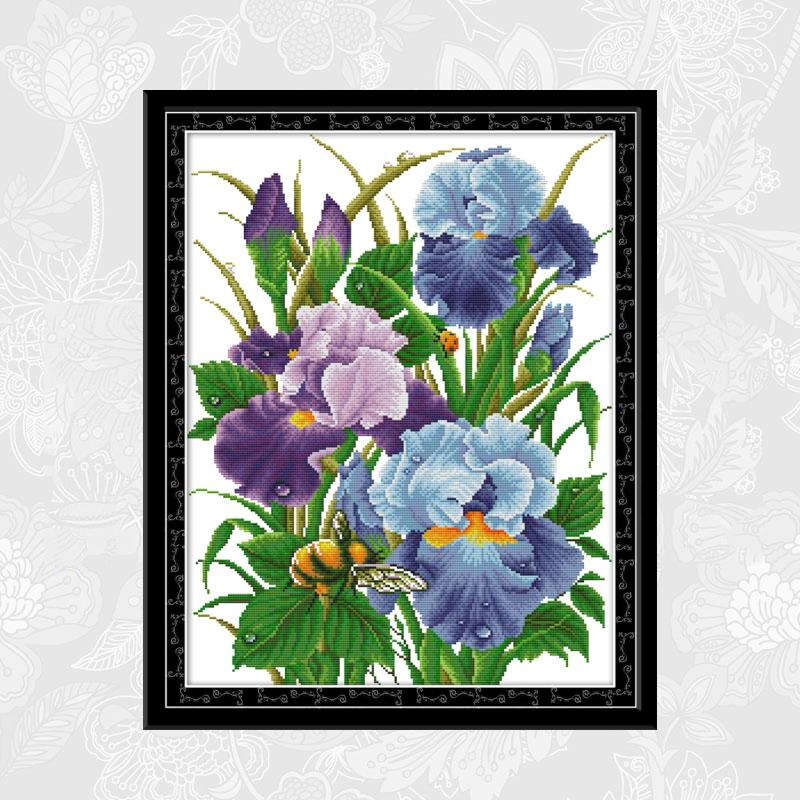The Iris flowers Paintings Cross Stitch Printed Canvas DMC Cotton Thread Crafts DIY Hand Made Embroidery Sets for Needlework