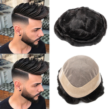 Isheeny Men Toupee Human Hair Durable Hairpieces Indian Human Hair Replacement MONO PU Remy Natural Hair System for Men Wig