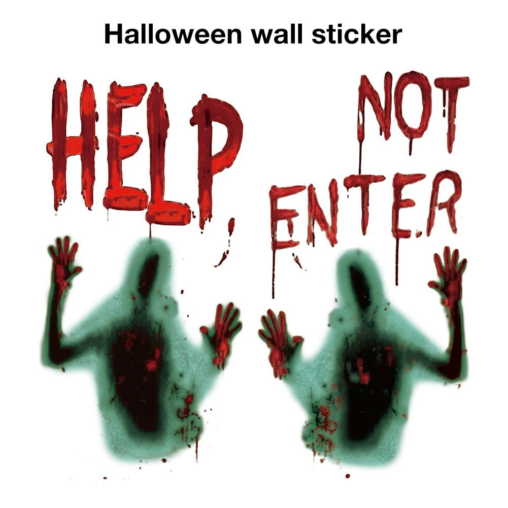 2 PCS Horror Zombie Sticker Poster Decoration For Haunted House Halloween Party Wall Bloody Window