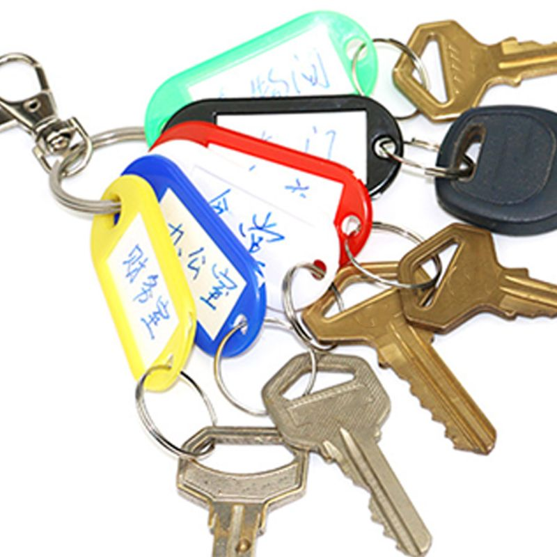 50pcs Key ID Tag Baggage Luggage Name Label Card with Split Ring Keyring L9BE