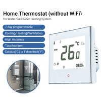 Termostato programable para el hogar con WiFi, termostato para caldera de agua/Gas, pantalla táctil inteligente, solo calor, con aplicación y Control por voz