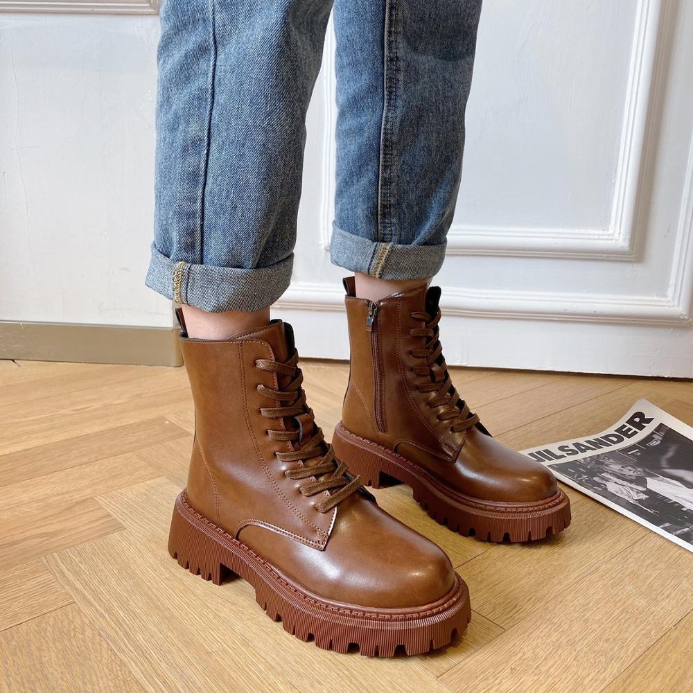 Women Brown Ankle Boots 2020 Fashion Autumn Platform Gothic Shoes Short Boots  Women Black Combat Boots