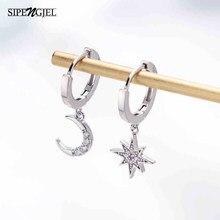 Trendy cubic zirconia oro luna stella ciondola gli orecchini di lusso di modo piccoli orecchini a cerchio per le donne gioielli coreano 2020
