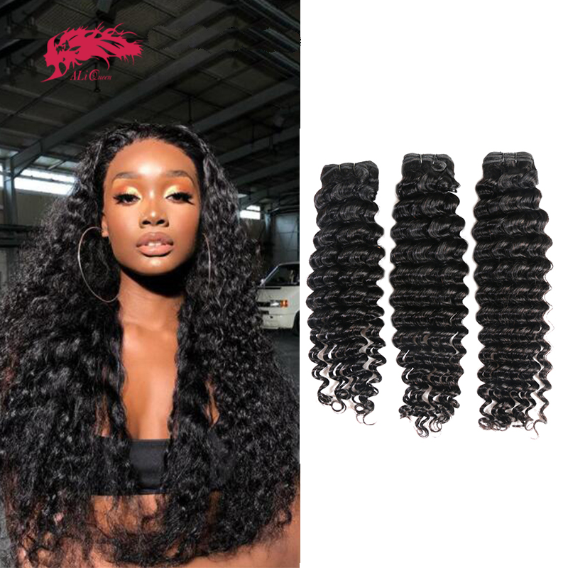 Tissage en Lot péruvien naturel Remy-Ali Queen Hair, Deep Wave, extensions de cheveux humains, Lot de 1/3/4, 10-26 pouces, disponibles