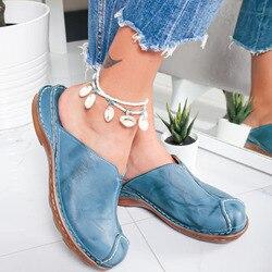 2020 fashio primavera verão novo chinelo casual couro artesanal sapatos planos mulher redonda cabeça confortável das senhoras sapatos femininos