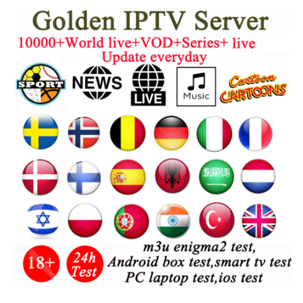 Golden Iptv Subscription UK USA Italy French Spain Sweden Iptv 1000+live VOD For Android Tv Box X96 Mini Smart Ip Tv Box M3u