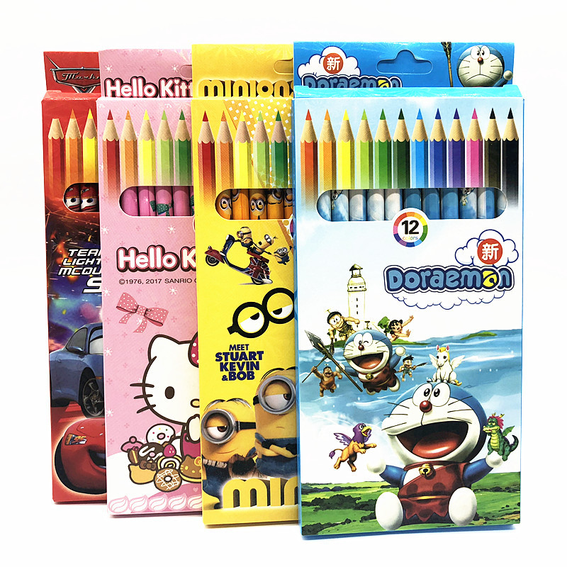 Kawaii Stationery Children's Gift Frozen Mickey Minnie Spiderman Hello Kitty 12 Colored Pencils Professional Drawing Pencils