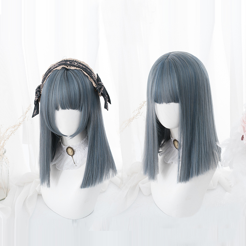 Blue Mixed Gray Lolita Wig Harajuku Cosplay Straight Long Sweet Synthetic Hair For Adult Girls
