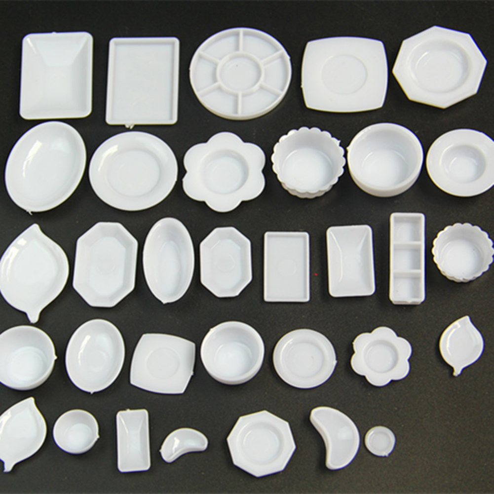 33Pcs/Set 1/12 Dollhouse Resin Clear Miniature Plate Dish Kitchen Tableware Toy Plates Doll Kitchen Toys New