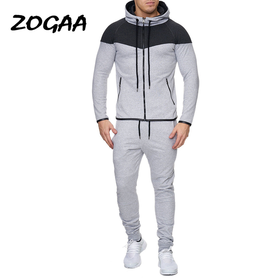 ZOGAA 2020Hot Sale Mens FASHION Normcore  Sweatsuit  Set Casual Cotton Zipper 2 Piece Set Sportswear Mens Clothing Tracksuit Set